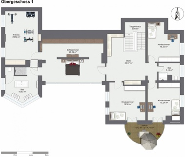 Grundrisse OG Lichtdurchflutetes zeitlos modernes Einfamilienhaus mit natürlich angelegtem Felsenpool ruhige Lage