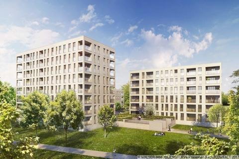 Außenansicht bei Tag Traumhafte 2-Zimmer-Wohnung mit Westausrichtung im 5. OG – Erleben Sie Großzügigkeit!