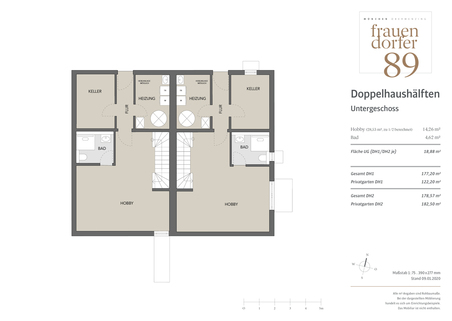 Untergeschoss Großzügiges Doppelhaus mit 5 Zimmern, Hobbybereich und Garten