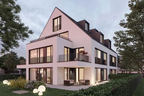 Hausansicht Abendstimmung (Illustration) Neubau: Dachgeschosswohnung mit 2,5-Zimmern und großzügiger Dachterrasse
