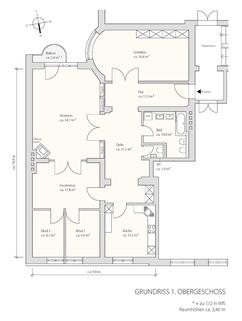 1. Obergeschoss Herrschaftliche 5-Zimmer-Altbauwohnung mit Kamin und Südbalkon