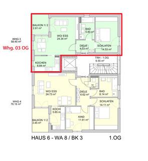Grundriss 1. OG Barrierefreie 2 Zimmer Neubau - Wohnung mit Balkon