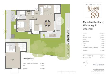 Erdgeschoss +  Untergeschoss Perfekt geschnittene 2-Zimmer-Gartenwohnung mit Hobbyraum