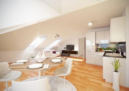 Wohnzimmer Küche Neubau 2-Zimmer-Dachgeschosswohnung
