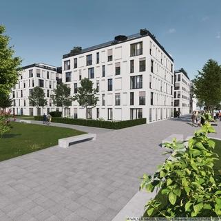 München Pasing PaseoCarre_Weg_hinten Zentral und trotzdem ruhig: 3 Zimmer-Wohnung in Innenhoflage