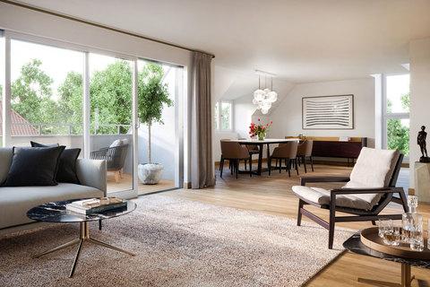 Wohnbereich Dachgeschoss (Illustration) Exklusives Penthouse mit 2,5 Zimmern, Dachspitz und Dachterrasse