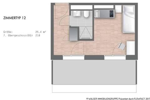 Grundriss Zimmertyp 12 - Ap218 Dachterrassen-Studentenapartments in Pasing - Perfekt für Kapitalanlage und Mieter