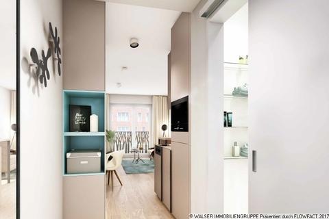 Beispielapartment Blick zum Balkon Innovatives und lukratives 2-Zimmer-Serviced-Apartment mit Balkon in begehrter Citylage