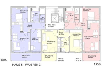 Grundriss 1.OG Barrierefreie 3 Zimmer Neubau - Gartenwohnung