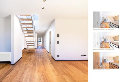 Wohn- und Kochbereich in verschiedenen Farbvarianten (Teilillustration) Erstbezug: Penthouse mit Design-Interieur und Rooftop-Terrasse