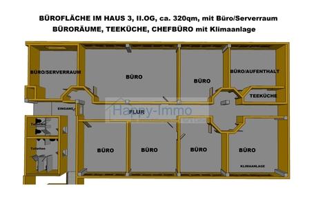 Grundriss 8 Zimmer Büro - Besprechungsraum, Teeküche & Etagentoiletten, ca. 318 m²