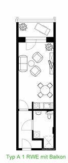 1-Raum-Wohnung Typ A mit Balkon AnKaSa Immobilien*TIPP: Modern möbliertes Cityappartment, EBK, schickes Bad im Stadtzentrum Leipzig!