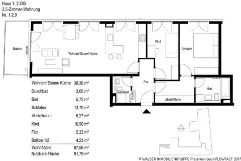 Grundriss 129 Wohnkultur mit Lebensstil – großzügige 3-Zimmer-Wohnung mit 2 Bädern in Bogenhausen