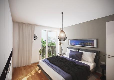 Schlafzimmer Neubau 2-Zimmerwohnung EG