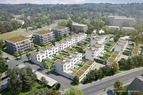 Bauvorhaben aus der Vogelperspekive Großzügiges Reiheneckhaus mit ca. 247m² Wohn- & nutzbarer Fläche im günstigen ERBBAURECHT