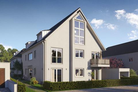 Hausansicht (Illustration) Exklusives Penthouse mit 2,5 Zimmern, Dachspitz und Dachterrasse