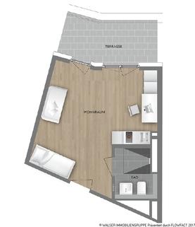 Grundrissplan Typ 26 * Dachterrassen-Apartment* im NEUBAU my room active! Für Studenten und Azubis *