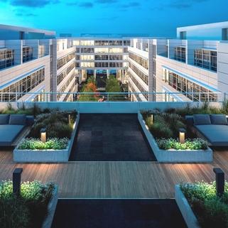 Terrasse Nachtansicht Dynamisch im Münchner Osten ... Bürocampus hell, modern und neu revitalisiert