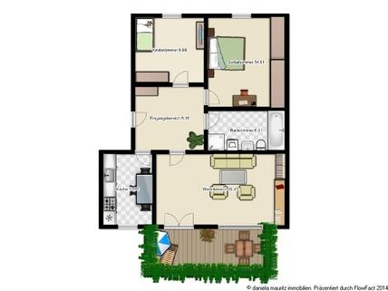 Grundriss - nicht maßstabsgetreu Ansprechende Terrassenwohnung mit drei Zimmern in ruhiger Lage
