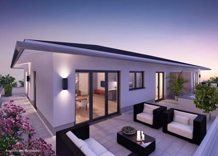 Illustration Dachterrasse Premium 3 Zi. DG-Wohnung mit ca. 109m² Wfl, grosser Dachterrasse und 2x TG-Platz. Nur 2 Min. zur A9.