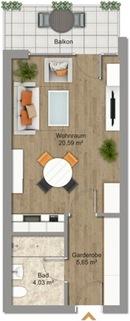 Grundriss möbliert Erstbezug nach Sanierung 1-Zimmer-Wohnung Bestlage Menterschwaige