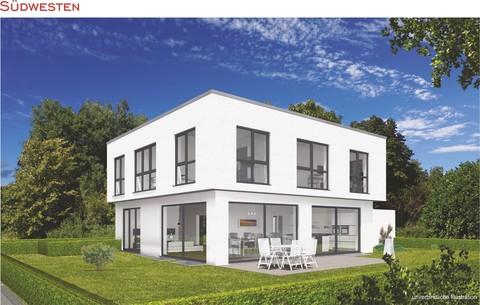 Süd-West-Ansicht Verkauft: Puristische Villa im BAUHAUS-Stil in OTTOBRUNN - aktuelles Angebot