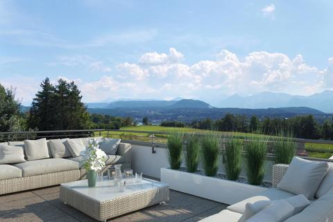 Terrasse Velden HILLS! Erstklassige Neubau-Gartenwohnung in Sonnenlage mit Bergblick!