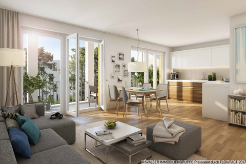 Beispielwohnzimmer Attraktive 2-Zimmerwohnung: Raumwunder mit wunderbarem Blick ins Grüne