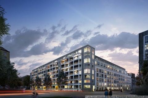 Eckansicht bei Nacht Gemütliche 1,5-Zi-Neubauwohnung in Bogenhausen! Attraktiv – Auch in der Rendite
