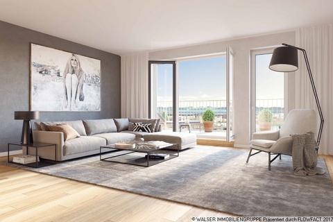 Beispielwohnzimmer mit Blick über München ERSTBEZUG IN BOGENHAUSEN: Ruhige, sonnige Innenhoflage, 5. OG., S/W-Balkon, geplanter Bezug 12/2018