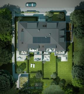 Illu Top View Wohnen auf zwei Ebenen mit Garten!