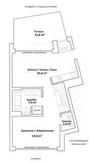 Grundriss Erdgeschoss Eisbach-Privatzugang! Exklusive Erdgeschosswohnung über 2 Etagen (EG/UG)
