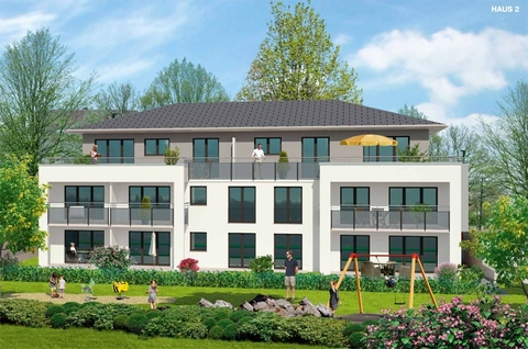 Illustration Haus-2 Premium 3 Zi. DG-Wohnung mit ca. 109m² Wfl, grosser Dachterrasse und 2x TG-Platz. Nur 2 Min. zur A9.