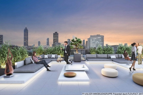 Dachterrasse Freiräume mit Format zu Top-Renditen: Außergewöhnliches Galerieapartment direkt an der Galluswarte