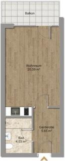 Grundriss ohne Möblierung Erstbezug nach Sanierung 1-Zimmer-Wohnung Bestlage Menterschwaige