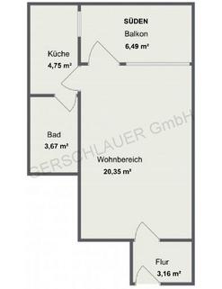 Grundriss Luxuriös renovierte 1-Zi.-Whg. mit Süd-Balkon und separater Küche mit Fenster in Planegg