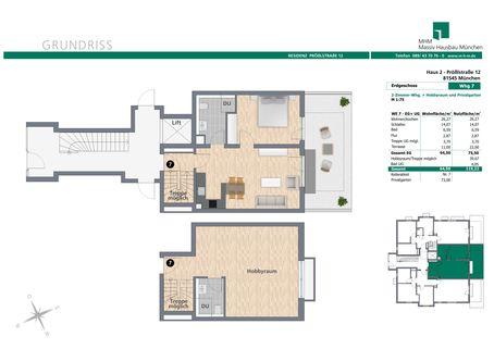 Grundriss Whg 7 Neubau: 3 Zimmer Gartenwohnung mit Hobbyraum,2 Bädern und Privatgarten!