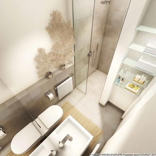 Beispielbadezimmer Freiräume mit Format zu Top-Renditen: Außergewöhnliches Galerieapartment direkt an der Galluswarte