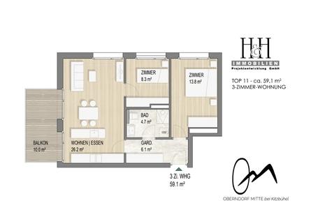 Grundriss_Top11Variante-3ZimmerWohung TOP 11: 3-Zimmer-Wohnung im 2.OG - WWW.OBERNDORFMITTE.AT