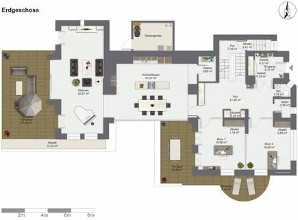 Grundrisse EG Lichtdurchflutetes zeitlos modernes Einfamilienhaus mit natürlich angelegtem Felsenpool ruhige Lage