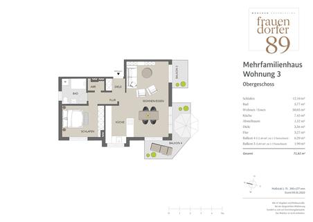 1. OG Charmante 2-Zimmer-Wohnung mit drei Balkonen