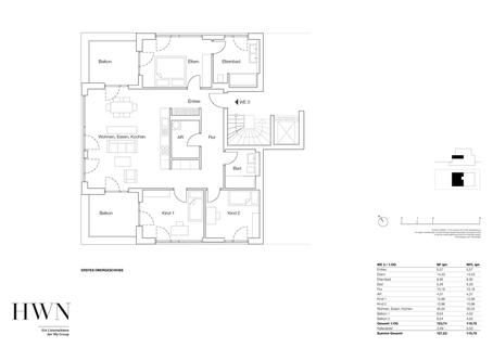Etagenwohnung 03 Neubau: Exklusiv ausgestattete 4-Zimmer-Wohnung mit zwei Balkonen