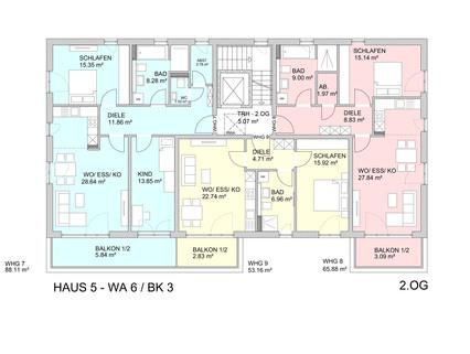 Grundriss 2.OG Barrierefreie 3 Zimmer Neubau - Gartenwohnung