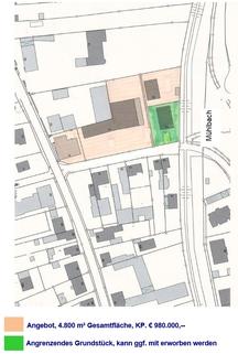 Lageplan Plattling: Großes Baugrundstück mit Altbestand - zentrumsnah am Mühlbach