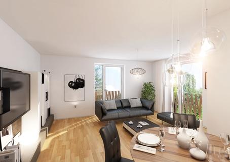 Wohnzimmer Neubau 2-Zimmerwohnung EG