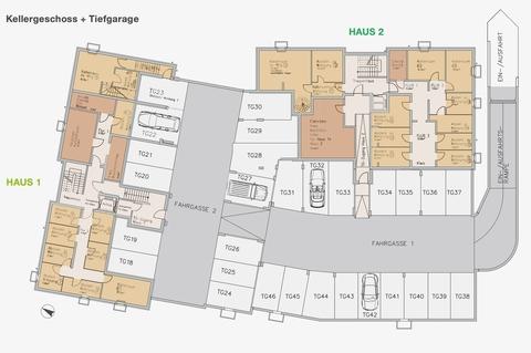 Keller-TG Premium 3 Zi. DG-Wohnung mit ca. 109m² Wfl, grosser Dachterrasse und 2x TG-Platz. Nur 2 Min. zur A9.