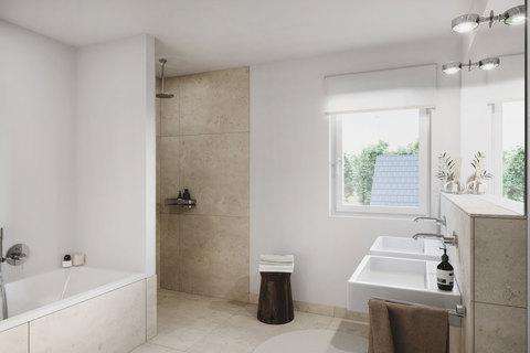 Badezimmer (Illustration) Großzügiges Doppelhaus mit 5 Zimmern, Hobbybereich und Garten