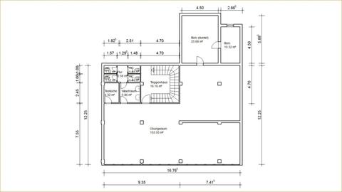 2D Grundrisse Große Gewerbeeinheit mit attraktiver 218 m² Fläche in zentraler Rostocker Stadtlage.