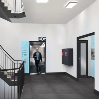 Treppenhaus Effiziente Büroflächen mit sonnigen Innenhöfen