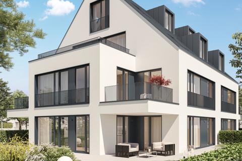 Ansicht Etagenwohnung Abendstimmung (Illustration) Neubau: Exklusiv ausgestattete 4-Zimmer-Wohnung mit zwei Balkonen